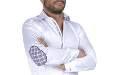 Plain White Shirt, White Shirts, Fitted Dress Shirts, Shirt Dress, Elbow Patches, French, Fitness, Model, Mens Tops