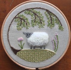 Sheep Crewel Embroidery Pattern by The Floss Box on Etsy.  Instant download includes full instructions and a stitch guide.