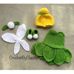 clothing etsy Crochet Tinker bell Inspired Costume/ Tinker Bell / Photography Prop/Made To Order Cute Crochet, Crochet For Kids, Crochet Crafts, Crochet Dolls, Yarn Crafts, Crochet Projects, Knit Crochet, Knitted Dolls, Crochet Ideas