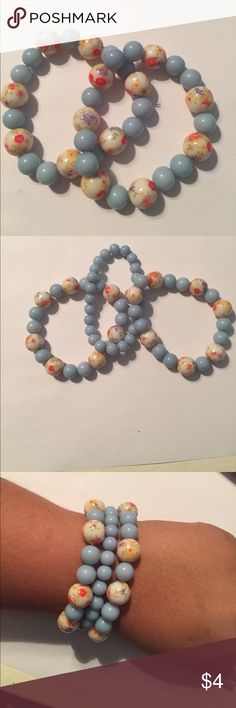 Baby Blue Vintage Beaded Bracelet Vintage beads are perfect to add a vintage vibe to any outfit! Jewelry