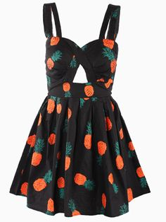Pineapple Print Beach Skater Dress in Black with Bow Tied Back