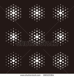 Design halftone hexagon cell element. Abstract water molecule vector logo template set.You can use in the media, mobile, water ,biology, che...