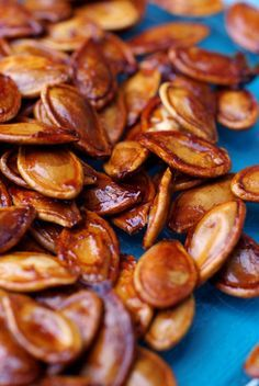 Drunken Pumpkin Seeds - soaked in whiskey and bacon drippings then roasted with butter and brown sugar!