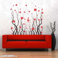 Red Blossom Flowers Wall Decal | $44.99 | Wallums