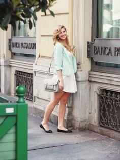 Shop this look on Lookastic:  http://lookastic.com/women/looks/blazer-ballerina-shoes-satchel-bag-skater-dress-earrings/9779  — Light Blue Blazer  — Black Leather Ballerina Shoes  — Grey Leather Satchel Bag  — White Skater Dress  — Mint Earrings