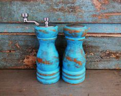 Turquoise Salt Shaker and Pepper Grinder by turquoiserollerset, $19.00