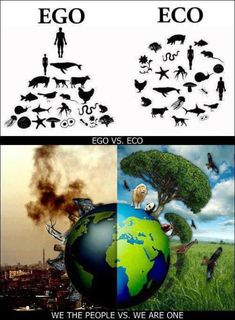 ego vs eco. Another great example poster. This means so much. If people would just realize what we have gotten ourselves into instead of looking at the power and money they feel the desire for. Replace that desire with the desire for change, sustainability, life, and beauty. Just think of everyone instead of yourself. It will go a long way.
