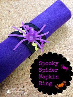 Easy Halloween Craft for Kids: Spooky Spider Napkin Ring #halloween #craft #diy