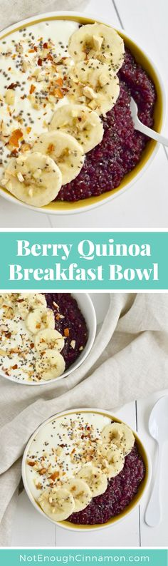 A filling delicious and healthy breakfast recipe made with. A filling delicious and healthy breakfast recipe made with quinoa and mixed berries thats refined sugar-free gluten free and clean eating! Quinoa Breakfast Bowl, Best Breakfast, Healthy Breakfast Recipes, Healthy Recipes, Breakfast Ideas, Free Recipes, Healthy Food, Eating Healthy, Easy Recipes