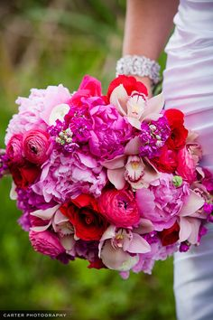If you love peonies, stock, ranunculus, orchids, and roses, you're going to swoon for this pretty pink bouquet!
