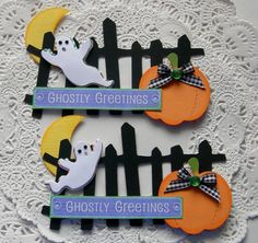 Halloween Paper Embellishments-Set Of 2-Ghostly Greetings on Etsy, $3.99