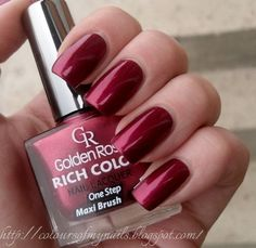 Golden Rose Rich Color 22 ~ Colours of my nails - Nail Art Golden Rose Nail Polish, Golden Nail Art, Summer Nail Polish, Golden Nails, Nail Polish Colors, Rose Nails, My Nails, Golden Rose Cosmetics, Dark Red Lips