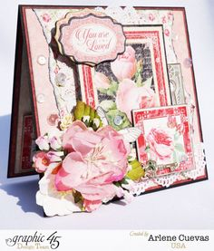 A card featuring Graphic Mon Amour collection, by Arlene. Graphic 45, Valentine Special, Valentines, Valentine Cards, Heartfelt Creations, Vintage Cards, Mini Albums, Making Ideas, Wedding Cards