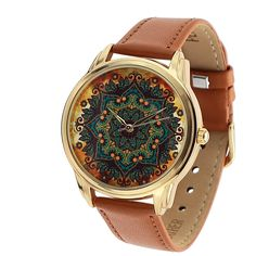 Montre originale femme - bracelet cuir marron - Origine : Montre par ziz-accessories