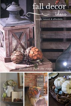Great ideas for fall  home decor using vintage and farmhouse style items.