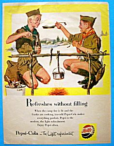 1955 Pepsi-Cola w/Two Boy Scouts Eating & Drinking