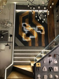 65 Ideas Wall Design Logo For 2019 Staircase Wall Lighting, Luxury Staircase, Wall Railing, Staircase Design, Stair Paneling, Stair Walls, Cladding Design, Wall Cladding, Ceiling Design
