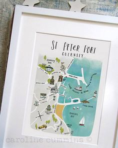Little Paper Gallery-Guernsey Love this little map, all my favourite Guernsey places