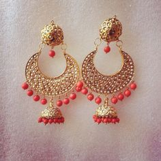Stunning Coral Jhumkis - Online Shopping for Earrings by Ze Panache