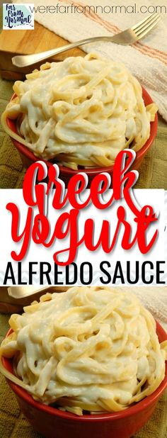 Delicious Easy Creamy Greek Yogurt Alfredo Sauce Looking for a healthy Alfredo sauce? This Greek yogurt Alfredo sauce is super creamy and delicious but made with healthier ingredients! Ww Recipes, Sauce Recipes, Cooking Recipes, Healthy Recipes, Dinner Recipes, Healthy Sweets, Crockpot Recipes, Chicken Recipes, Eating Clean