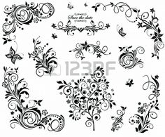 Black and white vintage floral design Stock Photo - 19745132