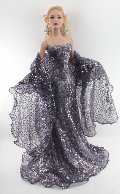 Tonner fashion doll in silvery lilac sequined eveningwear