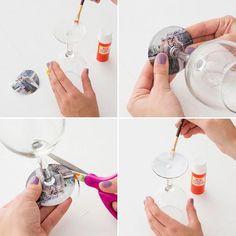 Weingläser zum Muttertag personalisieren mit Fotos und Mod Podge.