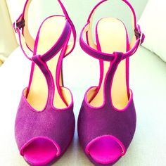 Purple suede heels peep toe t-strap These are hot! I just don't wear them much! They're in great condition and they're comfortable for heels!!! Elle Shoes Heels