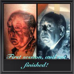 Alfred  Hitchcock tattooed on my leg from my partner Armando