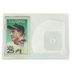Lou Gehrig Genuine US Postage Stamp Baseball Diamond Paperweight