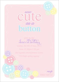 Cute as a Button Birthday  Printable by arpartyprintables on Etsy, $18.00 INVITE CHOICE 2