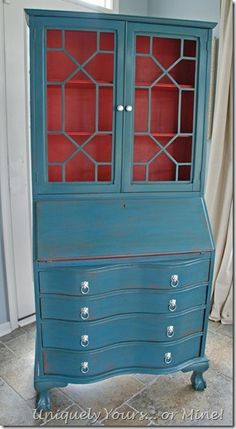 Secretary desk painted in Aubusson and custom coral Annie Sloan chalk paint Painting Antique Furniture, Chalk Paint Furniture, Furniture Projects, Furniture Makeover, Furniture Refinishing, Kids Furniture, Distressed Furniture, Shabby Chic Furniture, Brown Furniture