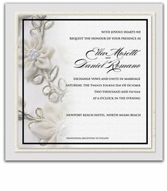 110 Square Wedding Invitations - Pearl Flower Amore by WeddingPaperMasters.com. $289.30. Now you can have it all! We have created, at incredible prices & outstanding quality, more than 300 gorgeous collections consisting of over 6000 beautiful pieces that are perfectly coordinated together to capture your vision without compromise. No more mixing and matching or having to compromise your look. We can provide you with one piece or an entire collection in a one stop shopp...