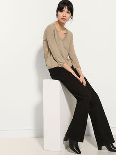 BLACK BELL BOTTOM TROUSERS Mossimo Dutti