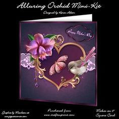 """Alluring Orchid Mini Kit on Craftsuprint designed by Karen Adair - This two sheet mini-kit will make this beautiful 8"""" square card. The kit contains a card front, and plenty of decoupage. The kit also includes 5 sentiment tags, one left blank for you to personalise if you wish. The sentiments have been worded so that you can use your finished card for many different occasions, including Mother's Day. If you like this check out my other designs, just click on my name. - Now available for…"""