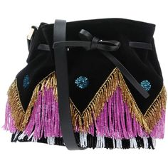 Les Petits Joueurs Cross-body Bag (74720 RSD) ❤ liked on Polyvore featuring bags, handbags, shoulder bags, black, bucket bags, beaded purse, mini shoulder bag, drawstring purse and mini purse