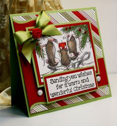 Christmas Card - Handmade Greeting Card - Sending You Wishes for a Warm and Wonderful Christmas - House Mouse - OOAK