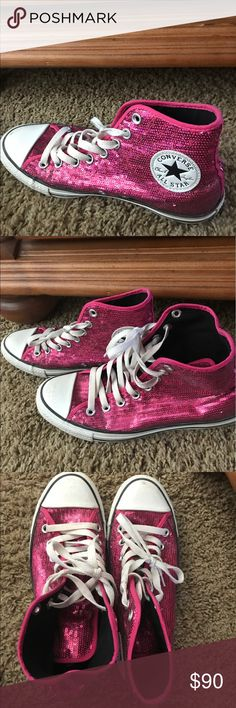 Pink Sparkly Converse Like new only been worn twice. Converse Shoes Sneakers