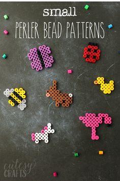 Small Perler Bead Patterns – Cutesy Crafts - Minecraft World 2020 Perler Bead Designs, Easy Perler Bead Patterns, Melty Bead Patterns, Perler Bead Templates, Hama Beads Design, Diy Perler Beads, Beading Patterns Free, Perler Bead Art, Beaded Jewelry Patterns