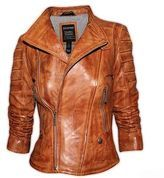 Ladies Tan Soft Waxed Real Leather Biker Jacket Gorgeous Soft Nappa