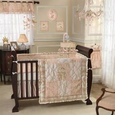 BEDDING This exquisitely detailed collection is the perfect combination of a petal pink toile with intricate embroidery details accented with a soft cream satin ruffle.