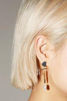 Faris Mobile Earrings in Silver, Bronze and Irregular Pearl