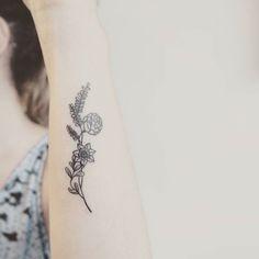 simple wildflower tattoo - Google Search