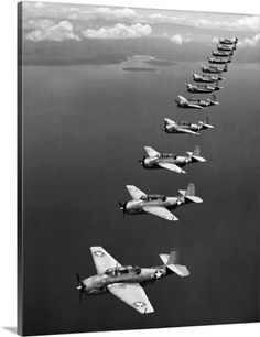 Premium Thick-Wrap Canvas Wall Art Print entitled Avenger Bombers, 1943, over the South Pacific, None