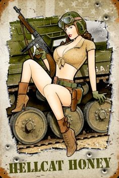 military pinups | Hellcat Honey Vintage Pinup Military Sign