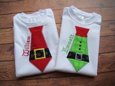 Santa or Elf Tie Christmas Shirt Tie by CreationsSewFabulous Christmas Applique, Christmas Sewing, Christmas Shirts, Family Christmas, Ugly Christmas Sweater, Christmas And New Year, Ugly Sweater, Christmas Crafts, Holiday Wear