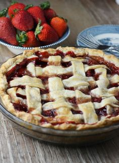 Simple and Fresh Strawberry Pie - This classic strawberry pie is just like grandma made growing up! The crust is buttery and flaky and the sweet strawberry filling is made without gelatin.