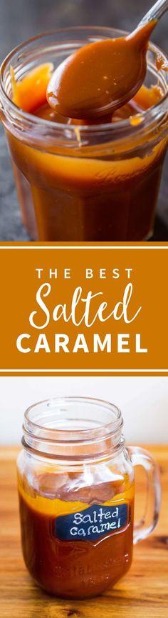 4 ingredient 5 minute EASY salted caramel!!! The best caramel sauce! Recipe on sallysbakingaddiction.com