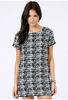 Missguided - Alexinah Monochrome Mini Shift Dress