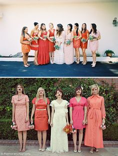 I like the idea of mismatched bridesmaid dresses.. They could pick out something that they'd definitely wear again!